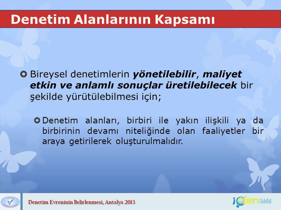 Denetim Evreninin Belirlenmesi, Antalya 2013 Denetim Alanlarının Kapsamı  Bireysel denetimlerin yönetilebilir, maliyet etkin ve anlamlı sonuçlar üret