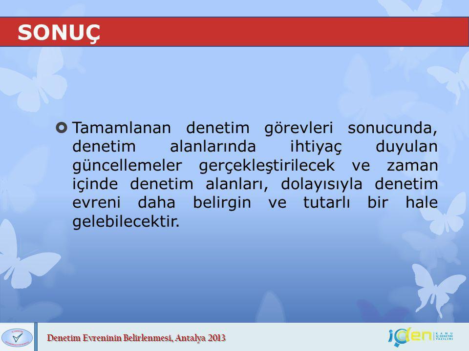 Denetim Evreninin Belirlenmesi, Antalya 2013 SONUÇ  Tamamlanan denetim görevleri sonucunda, denetim alanlarında ihtiyaç duyulan güncellemeler gerçekl