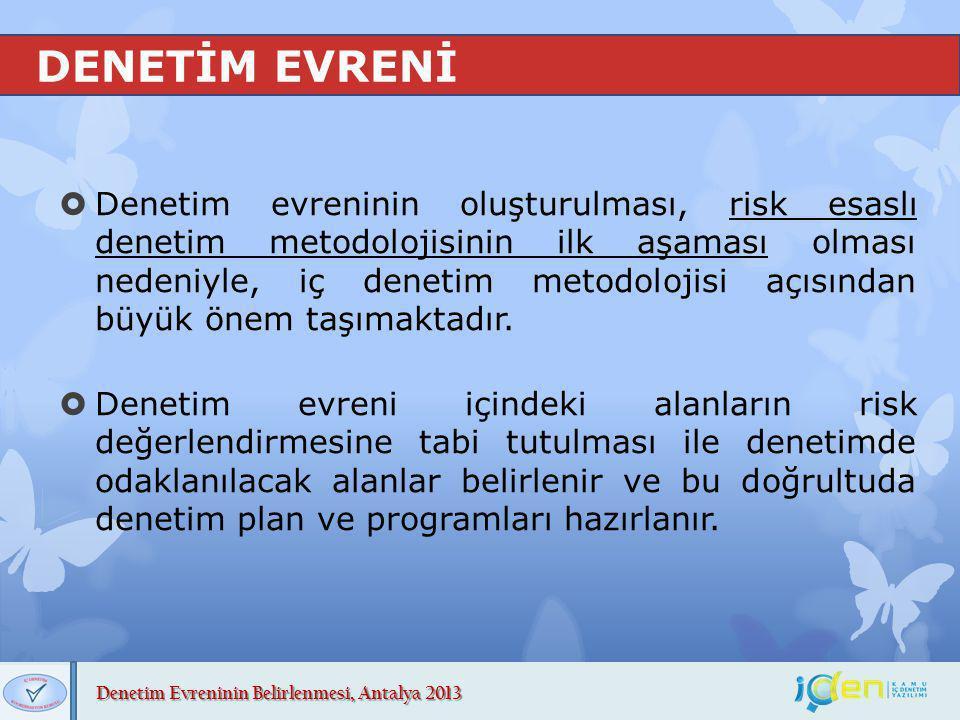 Denetim Evreninin Belirlenmesi, Antalya 2013 DENETİM EVRENİNİN KAPSAMI  Denetim evreni kapsamına, idarenin merkez, taşra ve yurt dışı teşkilatına dahil tüm birimlerinin işlem, faaliyet ve süreçleri dahil edilir.