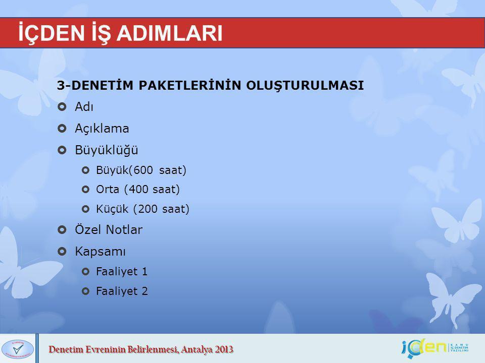 Denetim Evreninin Belirlenmesi, Antalya 2013 İÇDEN İŞ ADIMLARI 3-DENETİM PAKETLERİNİN OLUŞTURULMASI  Adı  Açıklama  Büyüklüğü  Büyük(600 saat)  O