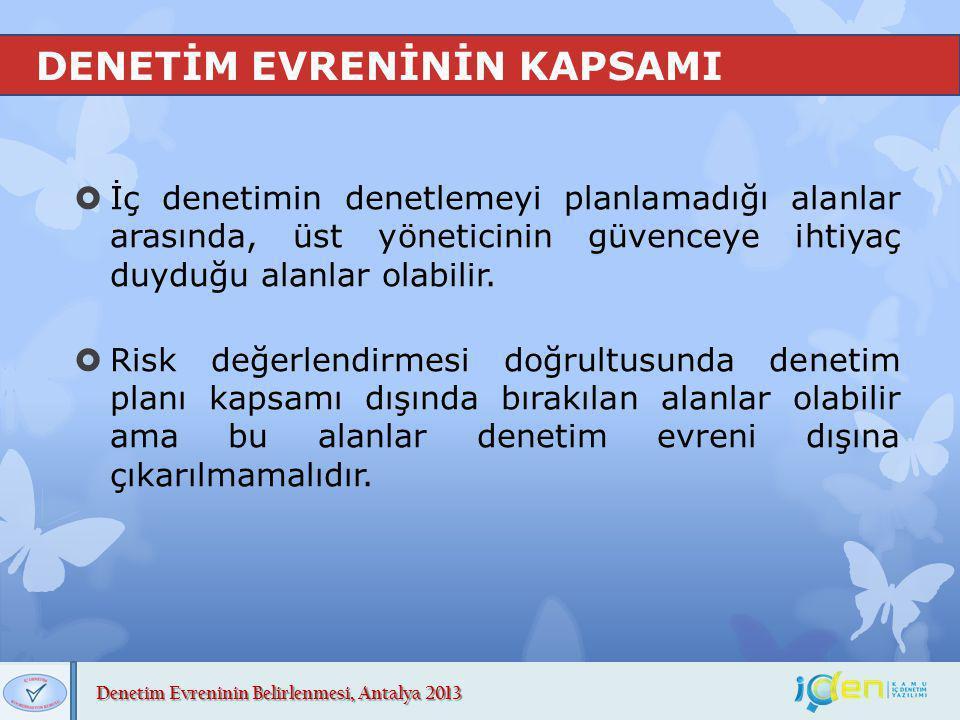 Denetim Evreninin Belirlenmesi, Antalya 2013 DENETİM EVRENİNİN OLUŞTURULMASI  Denetim evreni;  organizasyonel değişiklikler,  yeni uygulamalar,  projeler,  yasal değişiklikler, doğrultusunda güncellenmelidir.