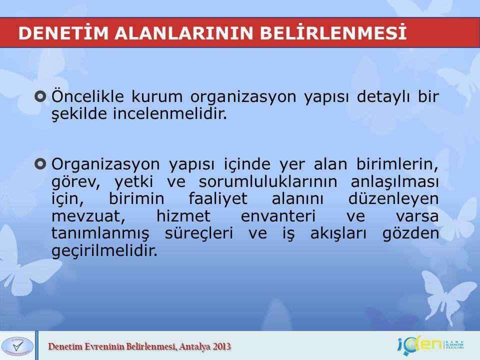Denetim Evreninin Belirlenmesi, Antalya 2013 DENETİM ALANLARININ BELİRLENMESİ  Öncelikle kurum organizasyon yapısı detaylı bir şekilde incelenmelidir