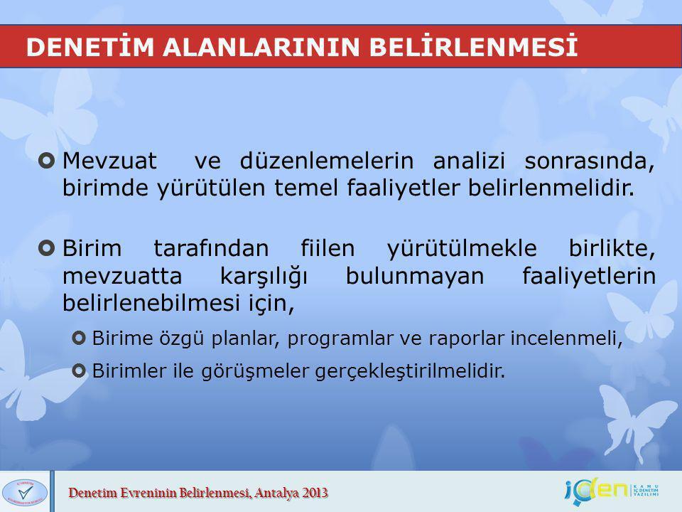 Denetim Evreninin Belirlenmesi, Antalya 2013 DENETİM EVRENİNİN OLUŞTURULMASI (İşin Niteliği)  İDB yürüttüğü faaliyetlerle, idarenin yönetişim, risk yönetimi ve kontrol süreçlerini değerlendirmeli ve iyileştirme önerilerinde bulunmalıdır.