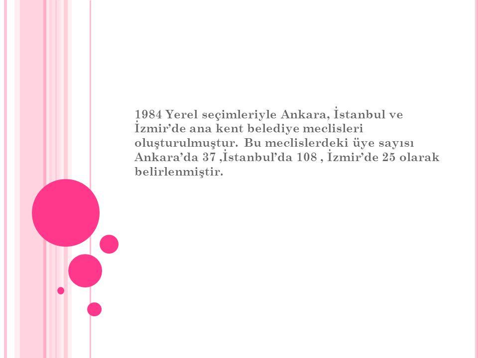 1984 Yerel seçimleriyle Ankara, İstanbul ve İzmir'de ana kent belediye meclisleri oluşturulmuştur. Bu meclislerdeki üye sayısı Ankara'da 37,İstanbul'd