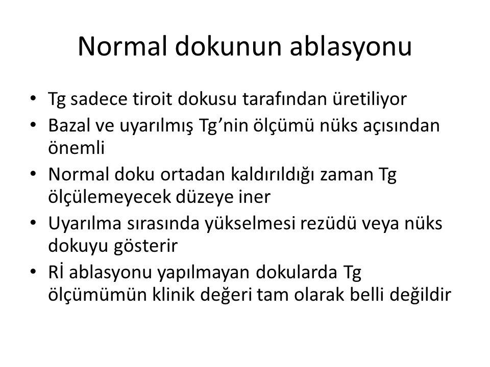 Normal dokunun ablasyonu Tg sadece tiroit dokusu tarafından üretiliyor Bazal ve uyarılmış Tg'nin ölçümü nüks açısından önemli Normal doku ortadan kald
