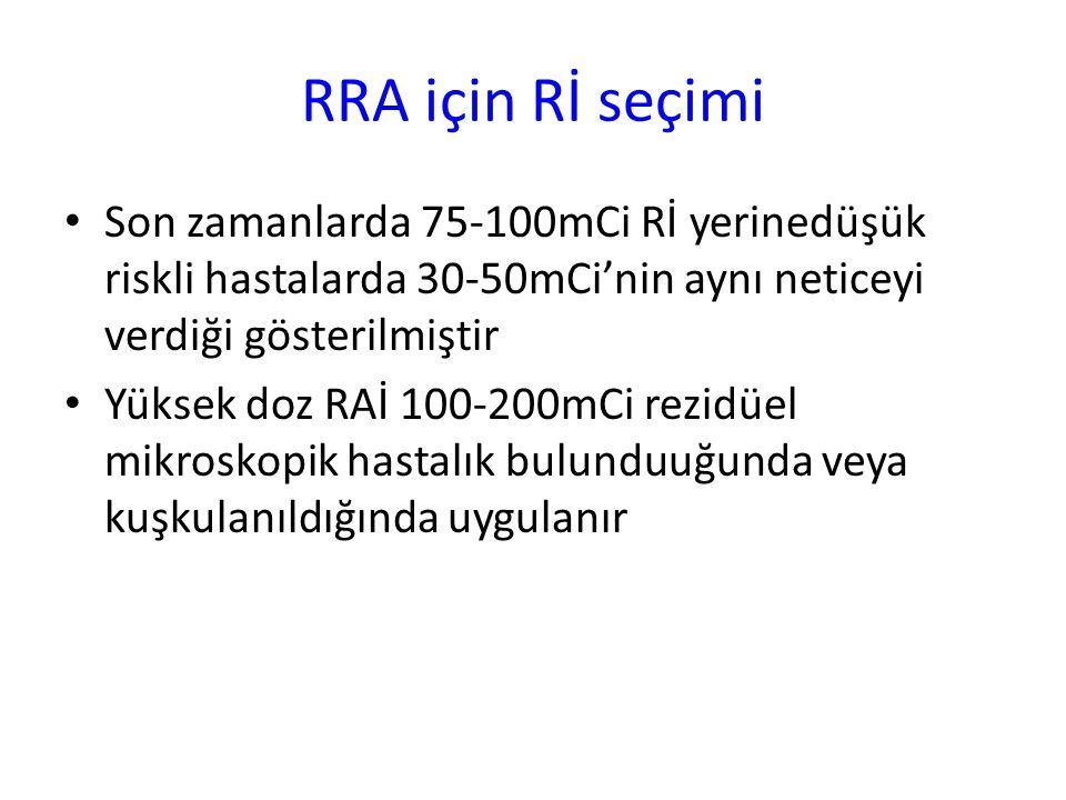 RRA için Rİ seçimi Son zamanlarda 75-100mCi Rİ yerinedüşük riskli hastalarda 30-50mCi'nin aynı neticeyi verdiği gösterilmiştir Yüksek doz RAİ 100-200m