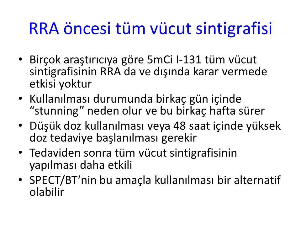 RRA öncesi tüm vücut sintigrafisi Birçok araştırıcıya göre 5mCi I-131 tüm vücut sintigrafisinin RRA da ve dışında karar vermede etkisi yoktur Kullanıl