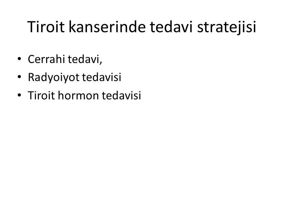 Tiroit kanserinde tedavi stratejisi Cerrahi tedavi, Radyoiyot tedavisi Tiroit hormon tedavisi