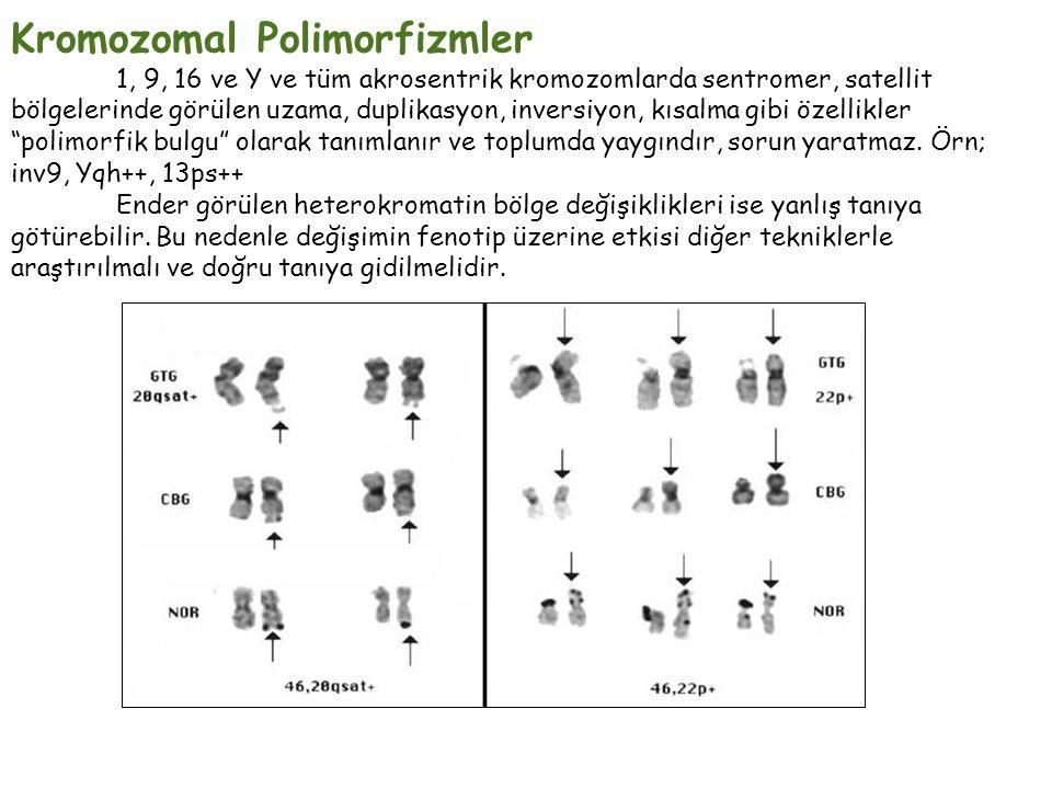 Kromozomal Polimorfizmler 1, 9, 16 ve Y ve tüm akrosentrik kromozomlarda sentromer, satellit bölgelerinde görülen uzama, duplikasyon, inversiyon, kısalma gibi özellikler polimorfik bulgu olarak tanımlanır ve toplumda yaygındır, sorun yaratmaz.