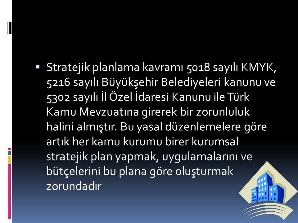  Stratejik planlama kavramı 5018 sayılı KMYK, 5216 sayılı Büyükşehir Belediyeleri kanunu ve 5302 sayılı İl Özel İdaresi Kanunu ile Türk Kamu Mevzuatı