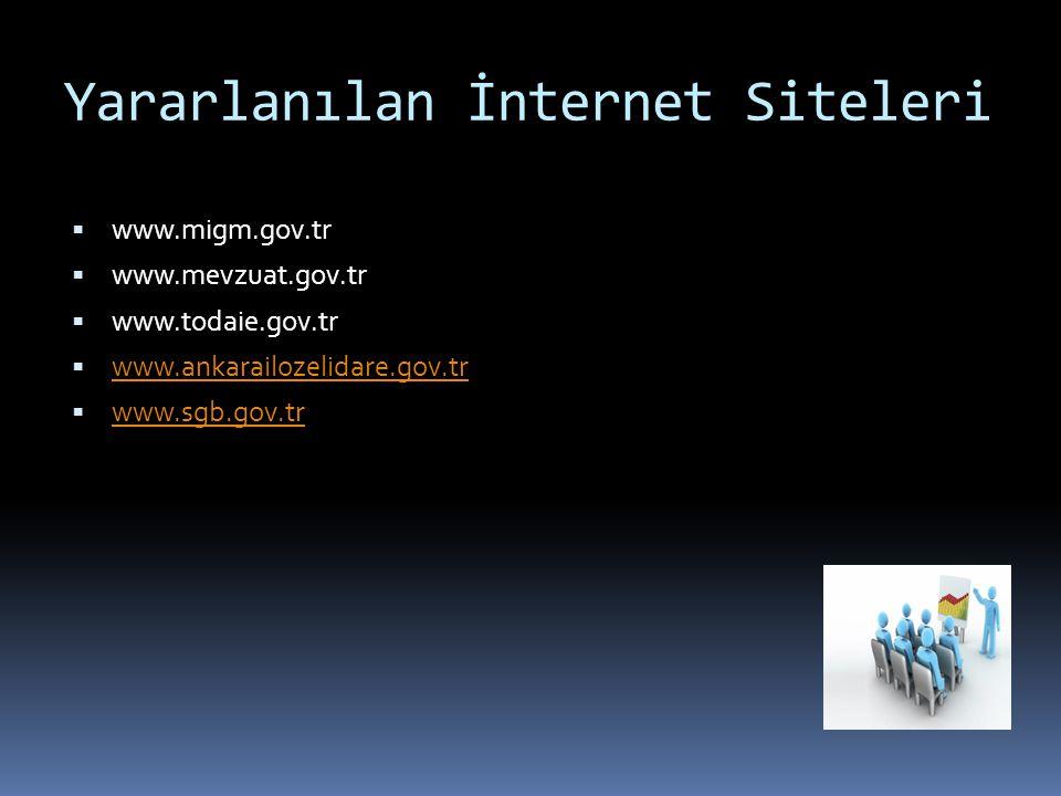Yararlanılan İnternet Siteleri  www.migm.gov.tr  www.mevzuat.gov.tr  www.todaie.gov.tr  www.ankarailozelidare.gov.tr www.ankarailozelidare.gov.tr