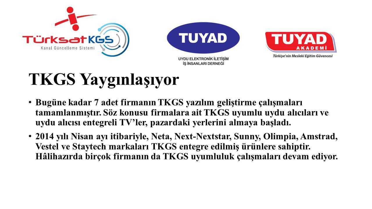 TKGS Yaygınlaşıyor Bugüne kadar 7 adet firmanın TKGS yazılım geliştirme çalışmaları tamamlanmıştır. Söz konusu firmalara ait TKGS uyumlu uydu alıcılar