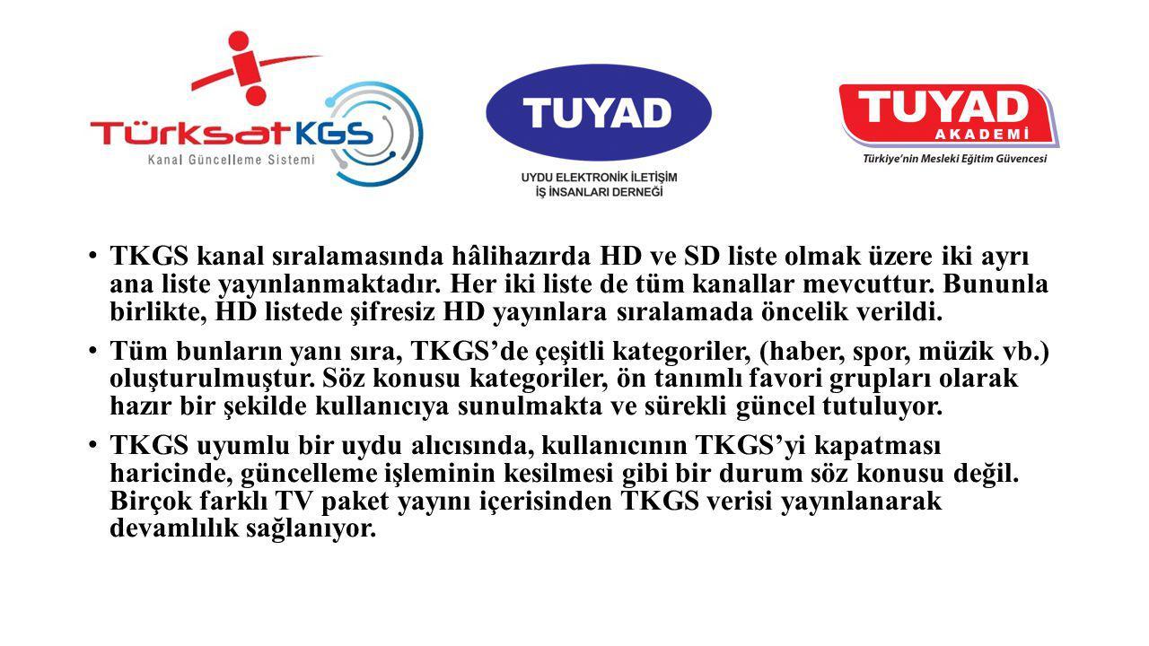 TKGS kanal sıralamasında hâlihazırda HD ve SD liste olmak üzere iki ayrı ana liste yayınlanmaktadır. Her iki liste de tüm kanallar mevcuttur. Bununla