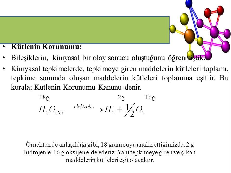 Kütlenin Korunumu: Bileşiklerin, kimyasal bir olay sonucu oluştuğunu öğrenmiştik. Kimyasal tepkimelerde, tepkimeye giren maddelerin kütleleri toplamı,
