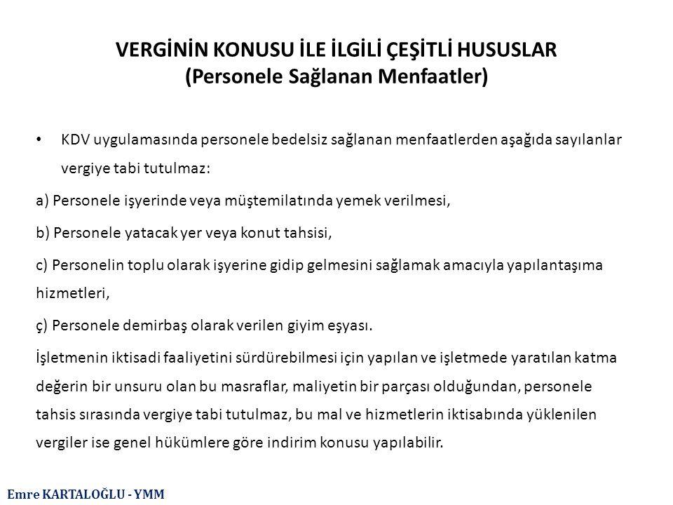 Emre KARTALOĞLU - YMM YENİ TEVKİFAT TABLOSU Tevkifata Tabi Mal veya Hizmetler Tevkifat OranıTevkifat Yapacak Olanlar İkametgâhı, işyeri, kanuni merkezi ve iş merkezi Türkiye'de bulunmayanlar tarafından Türkiye'de yapılan veya bunların yurt dışında yaptığı ancak Türkiye'de faydalanılan işlemler Tam Tevkifat Söz konusu hizmetlerden Türkiye'de faydalanan muhataplar KDV mükellefiyeti sadece Gelir Vergisi Kanunu'nun 18 inci maddesi kapsamına giren işlemlerden ibaret olan, sorumluluk uygulamasını tercih eden ve sadece Gelir Vergisi Kanunu'nun 94 üncü maddesinde sayılan kişi, kurum ve kuruluşlara teslim veya hizmet yapan serbest meslek erbabın Gelir Vergisi Kanunu'nun 18 inci maddesi kapsamına giren teslim veya hizmetleri Tam Tevkifat Gelir Vergisi Kanunu'nun 94 üncü maddesinde sayılan kişi, kurum ve kuruluşlar KDV mükellefi olmayanların, (sadece sorumlu sıfatıyla KDV ödeyenler bu kapsama dâhildir) Gelir Vergisi Kanunu'nun 70'nci maddesinde sayılan mal ve hakları kiralama işlemleri (ticari işletmeye dahil olmayan gayrimenkuller ile 5018 sayılı Kanuna ekli cetvellerde yer alan idare, kurum ve kuruluşların Tebliğ kapsamındaki kiralama işlemleri hariç) Tam Tevkifat KDV mükellefleri (sadece sorumlu sıfatıyla KDV ödeyenler bu kapsama dâhil değildir) KDV mükellefiyeti olmayan; amatör spor kulüplerine, oyuncularının formalarında gösterilmek, şahıslara veya kuruluşlara ait bina, arsa, arazi gibi yerlerde duvarlara yazılmak, pano olarak yerleştirilmek, gerçek veya tüzel kişiler tarafından yayınlanan dergi, kitap gibi yazılı eserlerde yayınlanmak ve benzeri şekillerdeki reklam verme hizmetleri (5018 sayılı Kanuna ekli cetvellerde yer alan idare, kurum ve kuruluşların Tebliğ kapsamındaki reklam verme işlemleri hariç) Tam Tevkifat Reklam hizmeti alan ve KDV mükellefi olan gerçek veya tüzel kişiler (sadece sorumlu sıfatıyla KDV ödeyenler bu kapsama dahil değildir) Yapım işleri ile bu işlere ilişkin mühendislik mimarlık ve etüt - proje hizmetleri 2/10 (Kısmi Tevkifat) Belirlenmiş alıcıl