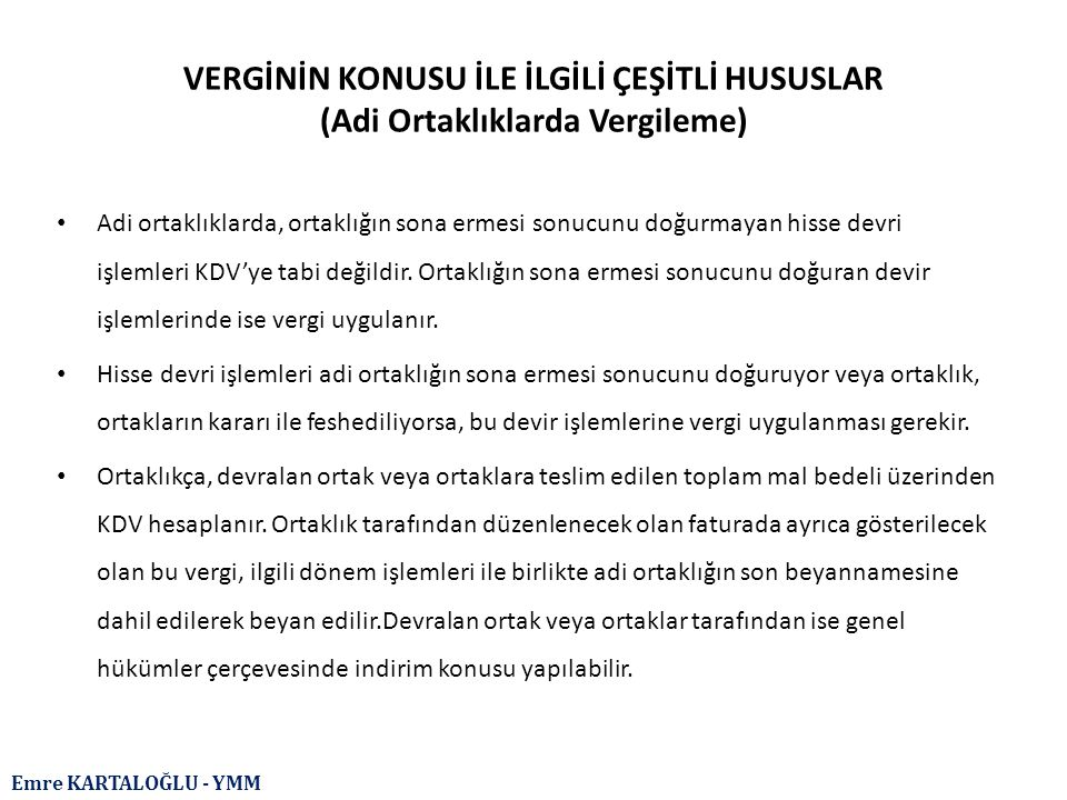 Emre KARTALOĞLU - YMM İNDİRİM Türk Gümrük Tarife Cetvelinin 87.04 tarife pozisyonunda belirtilen taşıtların sonradan değişiklik yapılarak binek otomobiline dönüştürülmesi durumunda, bu taşıtların iktisabında yüklenilen KDV ile binek otomobiline dönüşüm nedeniyle oluşacak ÖTV farkı üzerinden hesaplanacak KDV indirim konusu yapılamayacaktır.