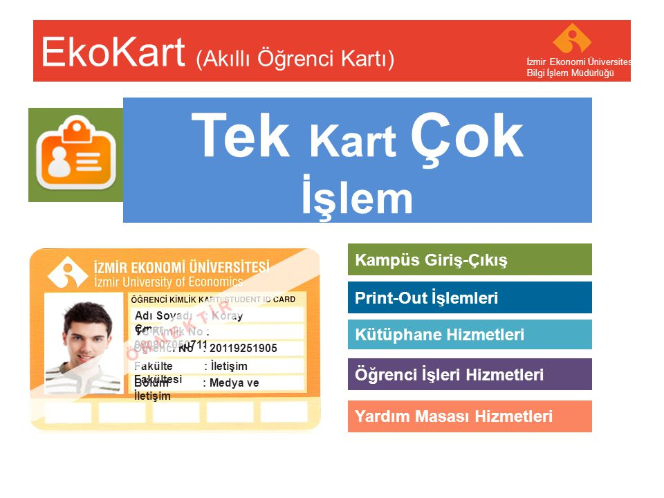 Your company name Your Logo Tek Kart Çok İşlem EkoKart (Akıllı Öğrenci Kartı) İzmir Ekonomi Üniversitesi Bilgi İşlem Müdürlüğü Kampüs Giriş-Çıkış Kütü
