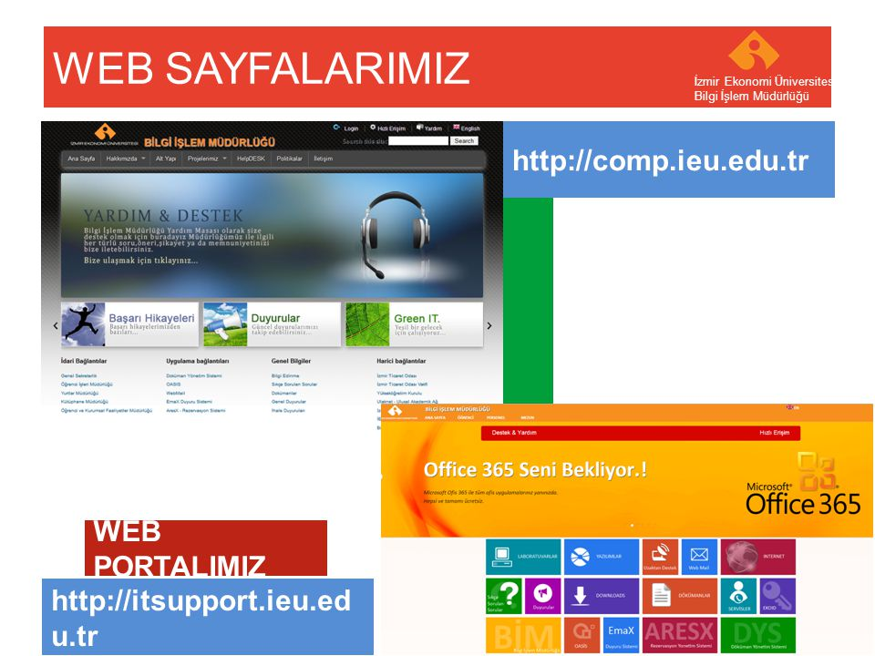 Your company name Your Logo WEB SAYFALARIMIZ İzmir Ekonomi Üniversitesi Bilgi İşlem Müdürlüğü http://comp.ieu.edu.tr http://itsupport.ieu.ed u.tr WEB