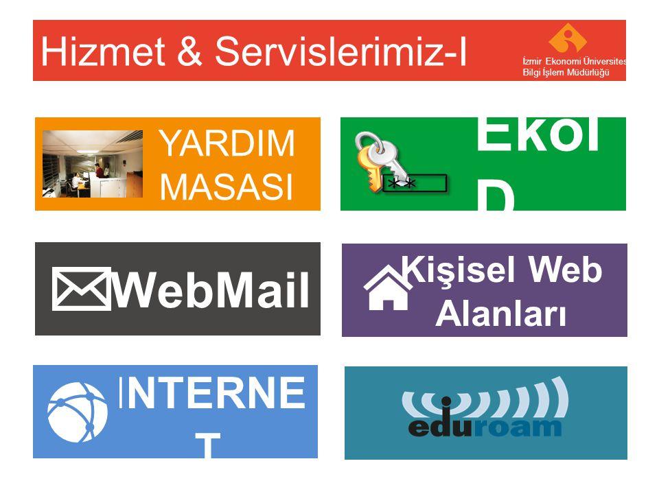 Your company name Your Logo EkoKar t PRINT-OUT Hizmet & Servislerimiz-II İzmir Ekonomi Üniversitesi Bilgi İşlem Müdürlüğü KIOSK YAZILIM ABONELİKL ERİ Online Destek VERİTABANI DESTEĞİ