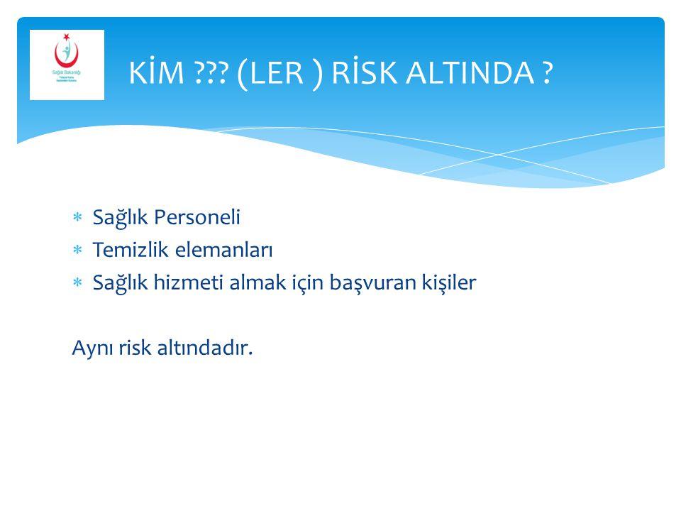  Sağlık Personeli  Temizlik elemanları  Sağlık hizmeti almak için başvuran kişiler Aynı risk altındadır. KİM ??? (LER ) RİSK ALTINDA ?