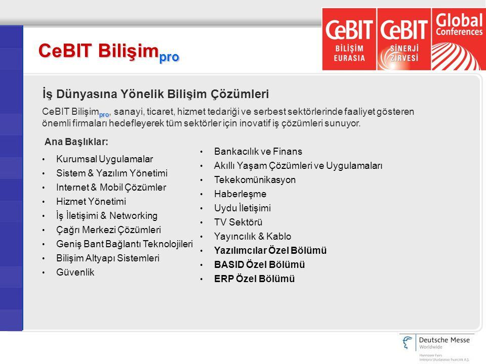 CeBIT Bilişim pro İş Dünyasına Yönelik Bilişim Çözümleri pro CeBIT Bilişim pro, sanayi, ticaret, hizmet tedariği ve serbest sektörlerinde faaliyet gös