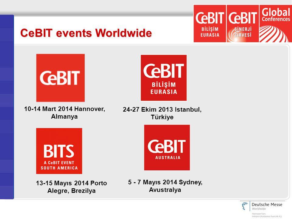 CeBIT events Worldwide 13-15 Mayıs 2014 Porto Alegre, Brezilya 10-14 Mart 2014 Hannover, Almanya 24-27 Ekim 2013 Istanbul, Türkiye 5 - 7 Mayıs 2014 Sydney, Avustralya