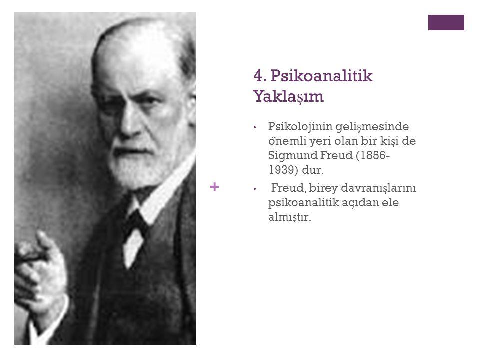 + 4. Psikoanalitik Yakla ş ım Psikolojinin geli ş mesinde o ̈ nemli yeri olan bir ki ş i de Sigmund Freud (1856- 1939) dur. Freud, birey davranı ş lar