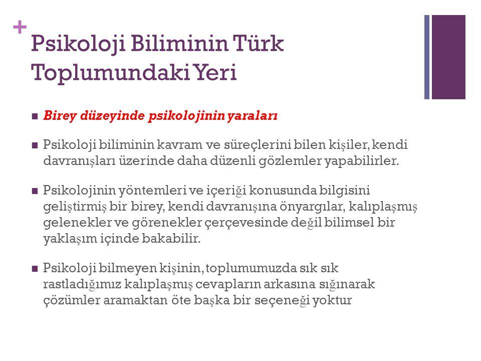+ Psikoloji Biliminin Türk Toplumundaki Yeri Birey düzeyinde psikolojinin yaraları Psikoloji biliminin kavram ve süreçlerini bilen ki ş iler, kendi davranı ş ları üzerinde daha düzenli gözlemler yapabilirler.