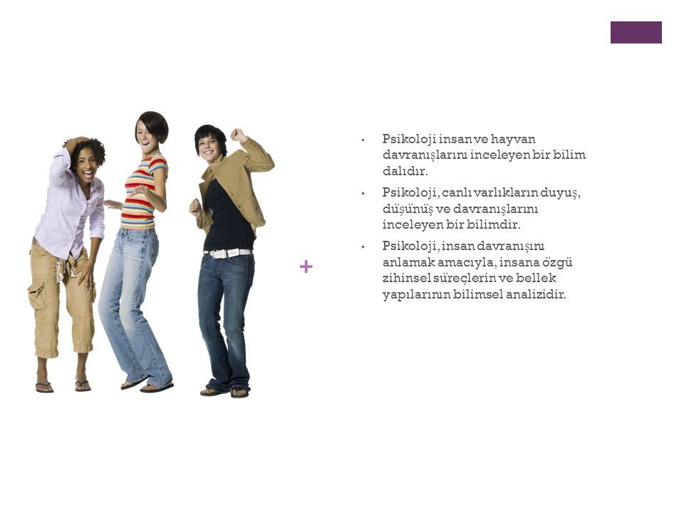 + Psikoloji insan ve hayvan davranı ş larını inceleyen bir bilim dalıdır.