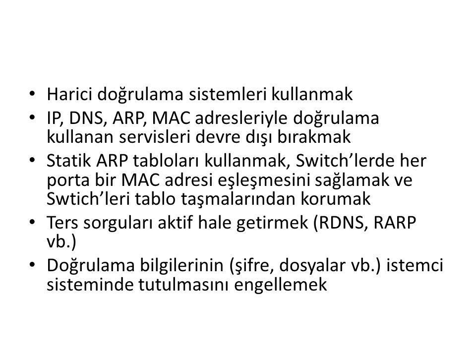 Harici doğrulama sistemleri kullanmak IP, DNS, ARP, MAC adresleriyle doğrulama kullanan servisleri devre dışı bırakmak Statik ARP tabloları kullanmak,