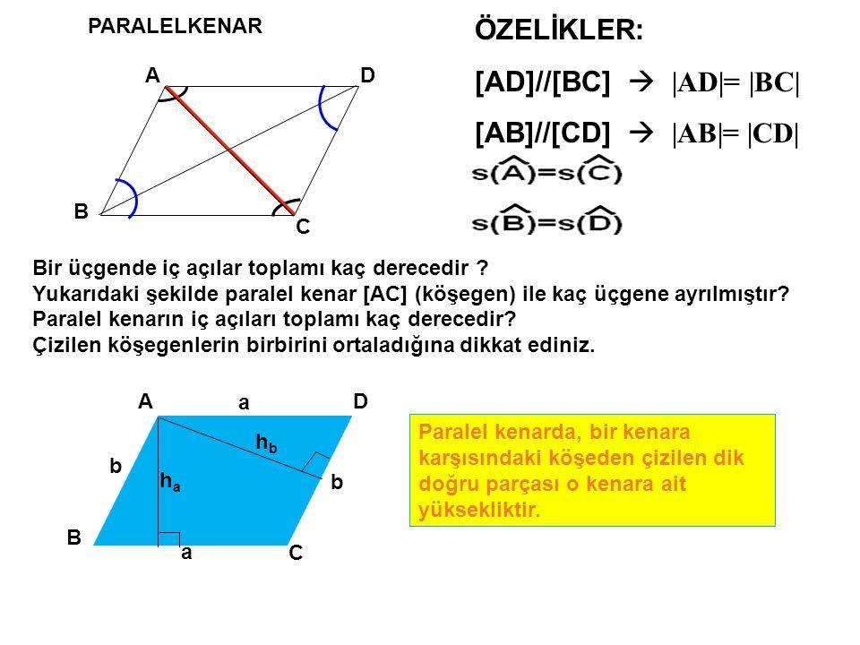 PARALELKENAR A B D C ÖZELİKLER: [AD]//[BC]  | AD|= |BC| [AB]//[CD]  | AB|= |CD| A B D C haha a a b b Paralel kenarda, bir kenara karşısındaki köşede