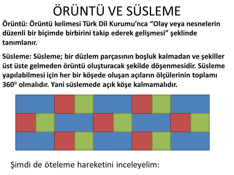 """ÖRÜNTÜ VE SÜSLEME Örüntü: Örüntü kelimesi Türk Dil Kurumu'nca """"Olay veya nesnelerin düzenli bir biçimde birbirini takip ederek gelişmesi"""" şeklinde tan"""