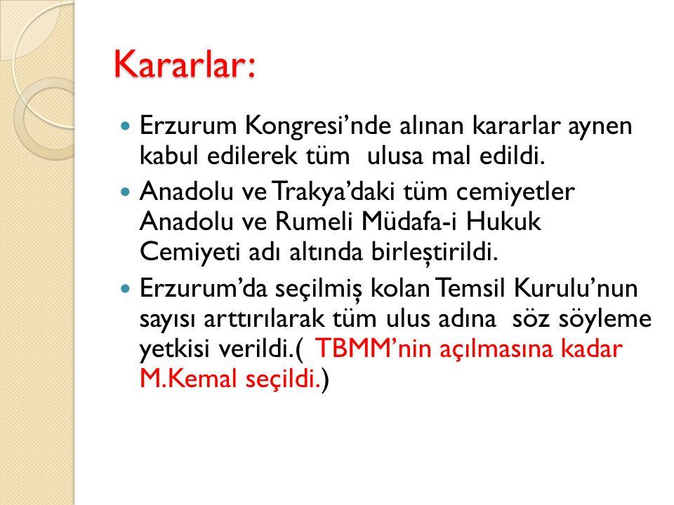 S İ VAS KONGRES İ (1-11 Eylül 1919) Kongrenin Toplanma amacı: Amasya genelgesindeki esasları ve Erzurum'da alınan kararları tüm ulusa mal etmek. vatan