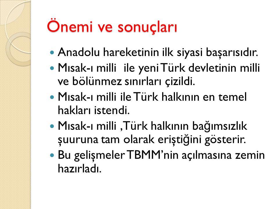 Meclis-i Mebusan'ın Toplanması ve Misak-ı Milli Mustafa kemal Ankara'da mebusan Meclisi toplanmadan önce milletvekilleriyle bir toplantı yaptı.bu toplantıda bazı kararlar alındı.bu kararlar: M.