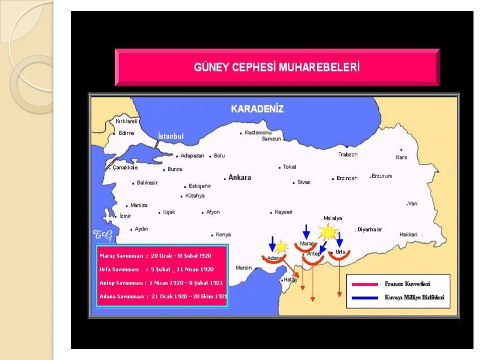 Güney Cephesi: İ talya,Fransa,Ermenilere karşıdır. Ankara antlaşması ile kapanmış. Düzenli orduya ihtiyaç duyulmadan düşman işgalinden kurtarılan ceph