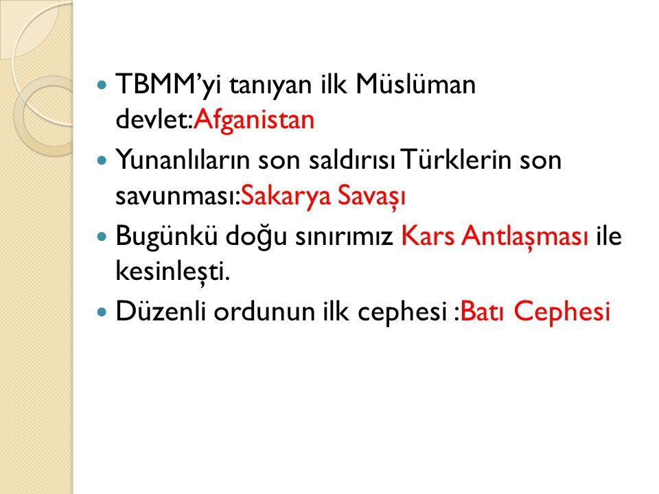Önemli notlar: Mısak-ı Milli'den ilk taviz = Batum İ kinci taviz= Hatay Osmanlı devleti hukuken Mudanya Ateş Antlaşması ile sona ermiştir. Ermeni soru