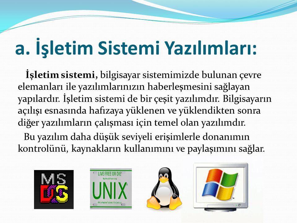 a. İşletim Sistemi Yazılımları: İşletim sistemi, bilgisayar sistemimizde bulunan çevre elemanları ile yazılımlarınızın haberleşmesini sağlayan yapılar