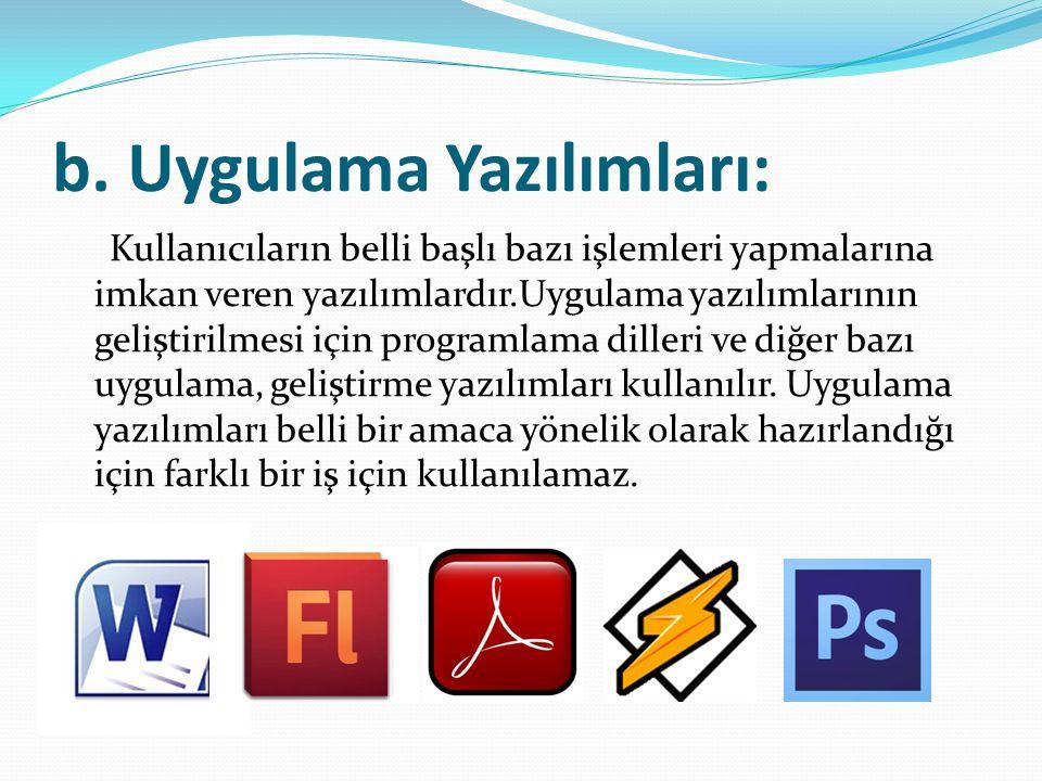 b. Uygulama Yazılımları: Kullanıcıların belli başlı bazı işlemleri yapmalarına imkan veren yazılımlardır.Uygulama yazılımlarının geliştirilmesi için p