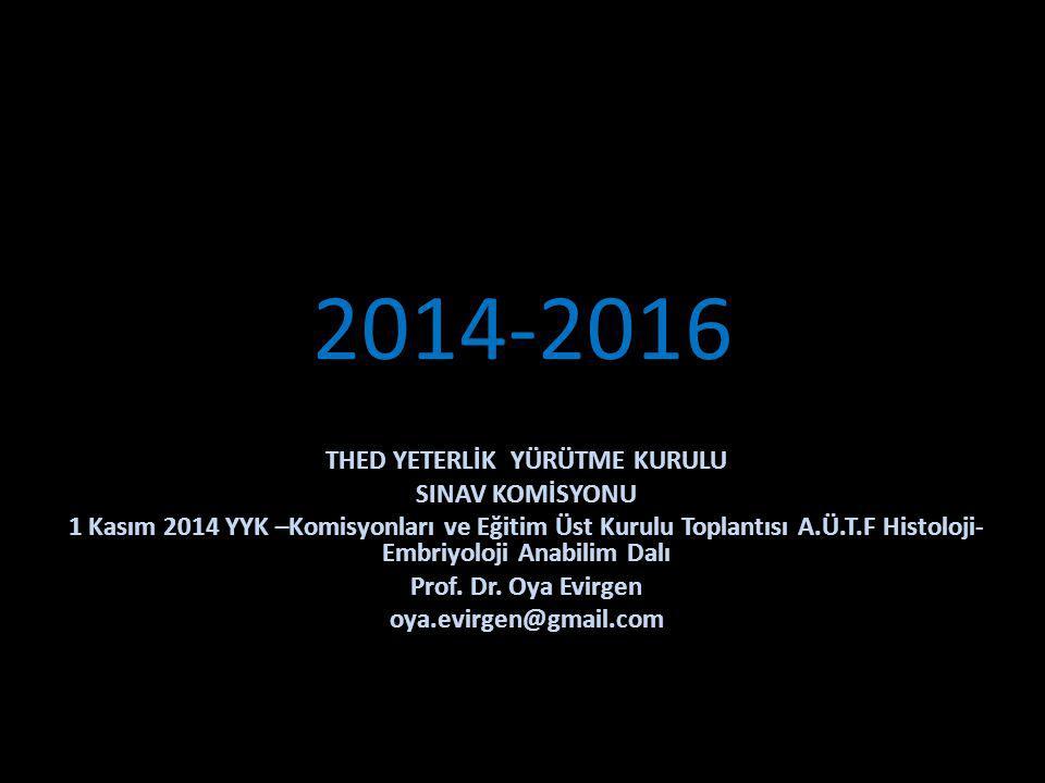 2014-2016 THED YETERLİK YÜRÜTME KURULU SINAV KOMİSYONU 1 Kasım 2014 YYK –Komisyonları ve Eğitim Üst Kurulu Toplantısı A.Ü.T.F Histoloji- Embriyoloji Anabilim Dalı Prof.
