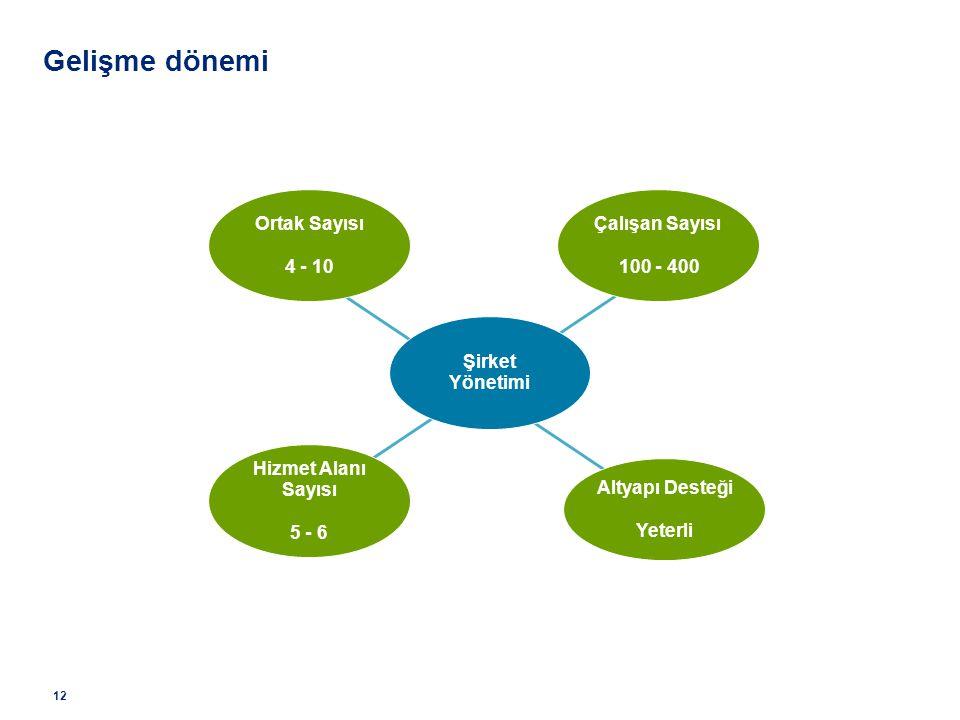 Çalışan Sayısı 100 - 400 Ortak Sayısı 4 - 10 Altyapı Desteği Yeterli Hizmet Alanı Sayısı 5 - 6 Şirket Yönetimi Gelişme dönemi 12