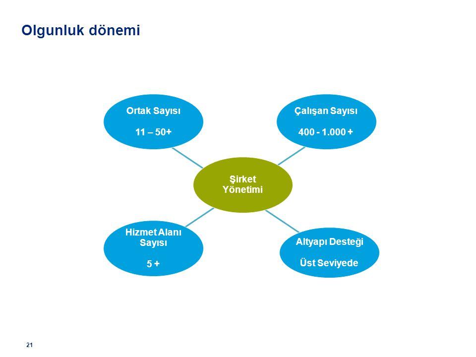 Çalışan Sayısı 400 - 1.000 + Ortak Sayısı 11 – 50+ Altyapı Desteği Üst Seviyede Hizmet Alanı Sayısı 5 + Şirket Yönetimi Olgunluk dönemi 21
