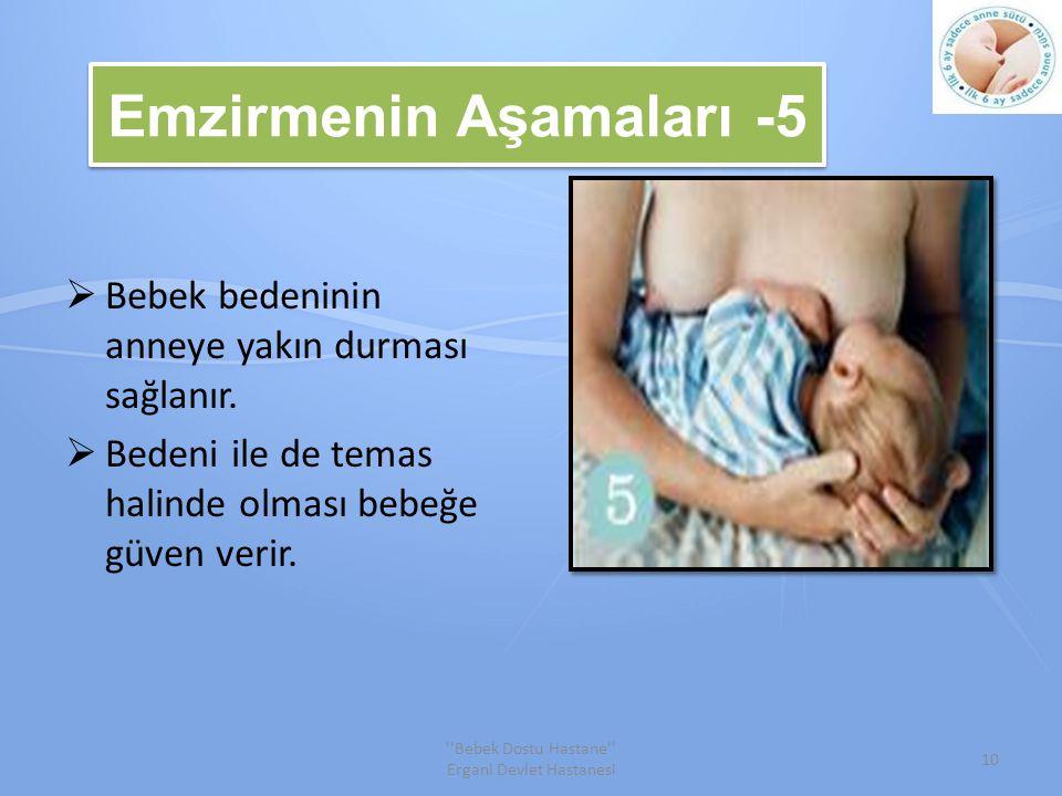 Emzirmenin Aşamaları -5  Bebek bedeninin anneye yakın durması sağlanır.