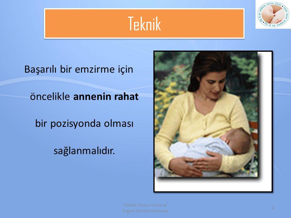 Teknik Başarılı bir emzirme için öncelikle annenin rahat bir pozisyonda olması sağlanmalıdır.