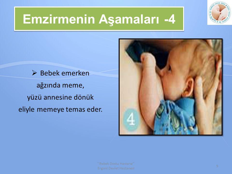 Emzirmenin Aşamaları -4  Bebek emerken ağzında meme, yüzü annesine dönük eliyle memeye temas eder.