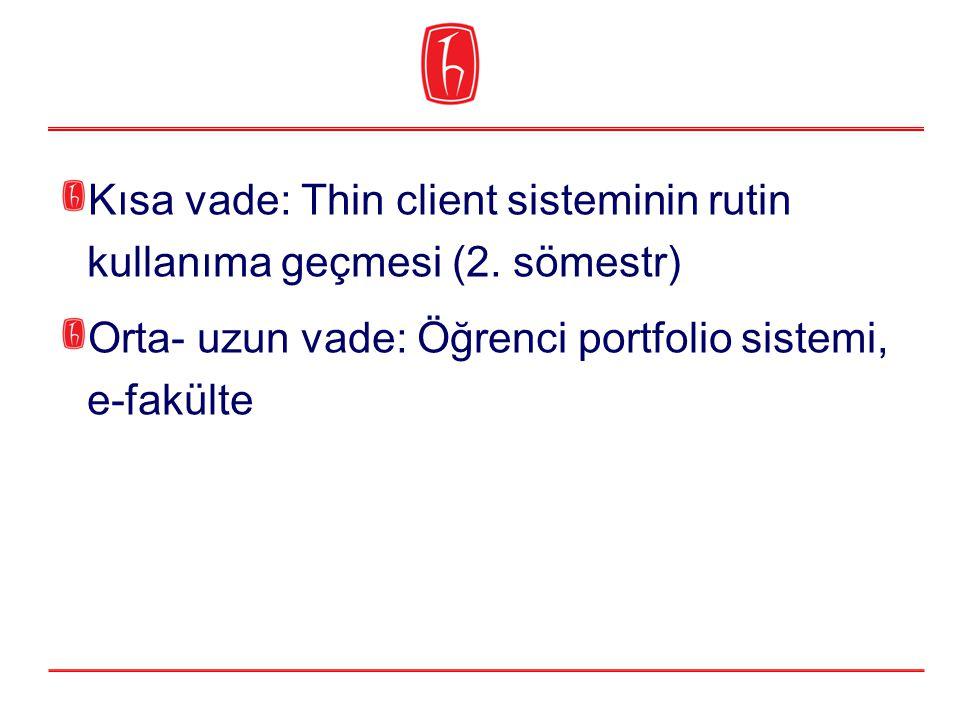 Kısa vade: Thin client sisteminin rutin kullanıma geçmesi (2. sömestr) Orta- uzun vade: Öğrenci portfolio sistemi, e-fakülte