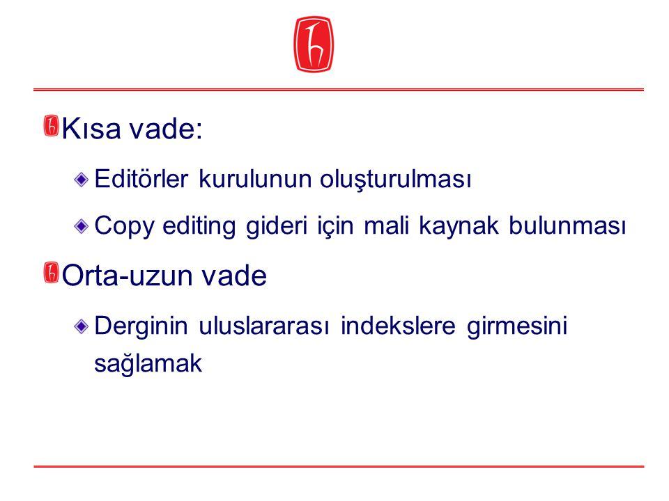 Kısa vade: Editörler kurulunun oluşturulması Copy editing gideri için mali kaynak bulunması Orta-uzun vade Derginin uluslararası indekslere girmesini