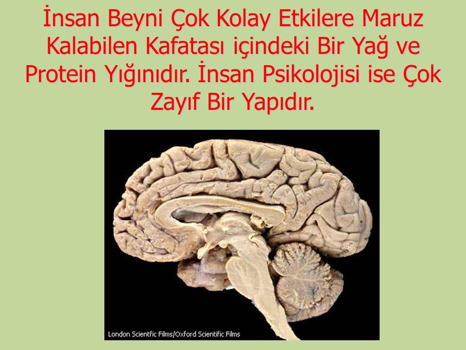 İnsan Beyni Çok Kolay Etkilere Maruz Kalabilen Kafatası içindeki Bir Yağ ve Protein Yığınıdır. İnsan Psikolojisi ise Çok Zayıf Bir Yapıdır.