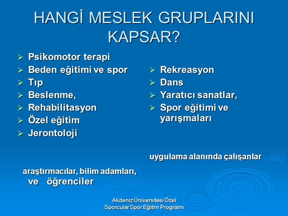 Akdeniz Üniversitesi Özel Sporcular Spor Eğitim Programı HANGİ MESLEK GRUPLARINI KAPSAR?  Psikomotor terapi  Beden eğitimi ve spor  Tıp  Beslenme,