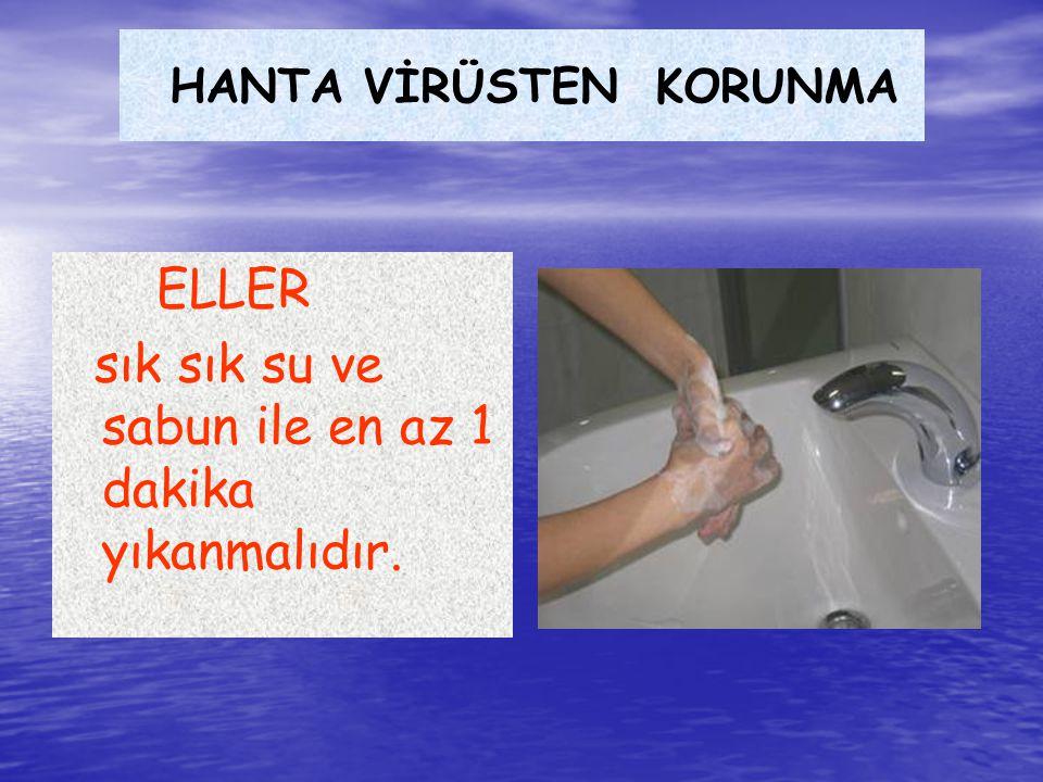 HANTA VİRÜSTEN KORUNMA ELLER sık sık su ve sabun ile en az 1 dakika yıkanmalıdır.
