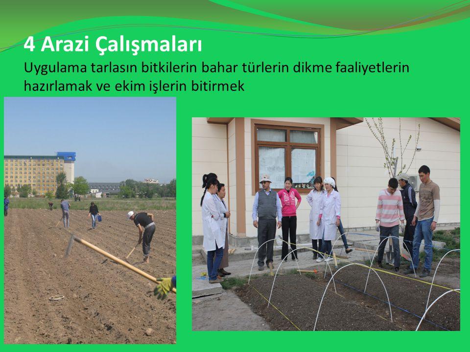 4 Arazi Çalışmaları Uygulama tarlasın bitkilerin bahar türlerin dikme faaliyetlerin hazırlamak ve ekim işlerin bitirmek
